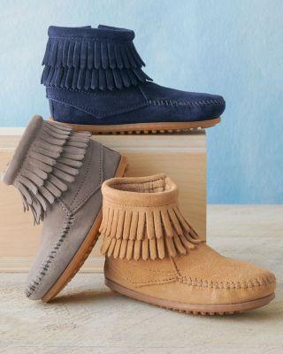 Minnetonka Double-Fringe Boots, Sizes 10-4