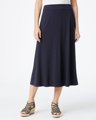 Eileen Fisher Viscose Jersey Flare Midi Skirt by Garnet Hill