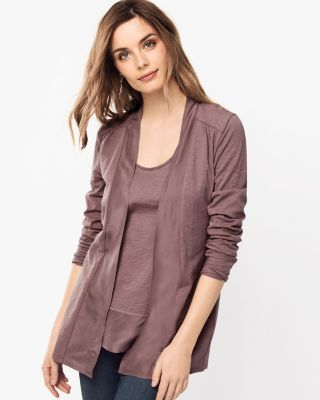 Silk Banded Knit Cardigan by Garnet Hill