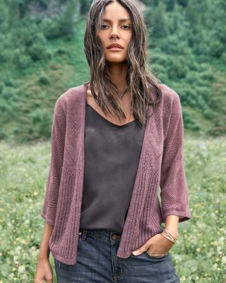 Featherweight Cashmere Bell Sleeve Cardigan by Garnet Hill