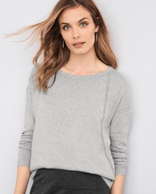 Boxy Pointelle Detail Pullover by Garnet Hill