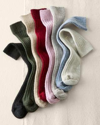Garnet Hill Women's Cashmere Socks Ankle or Knee Socks