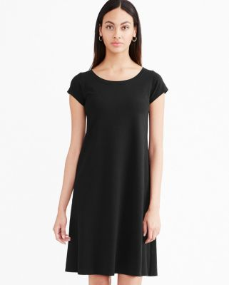 Eileen Fisher Organic Cotton Ballet-Neck Dress Petite