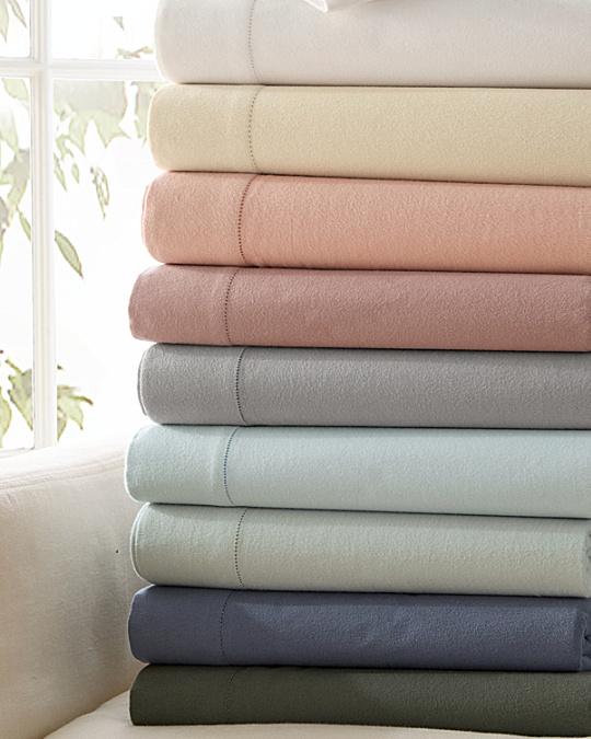hemstitched supima flannel bedding