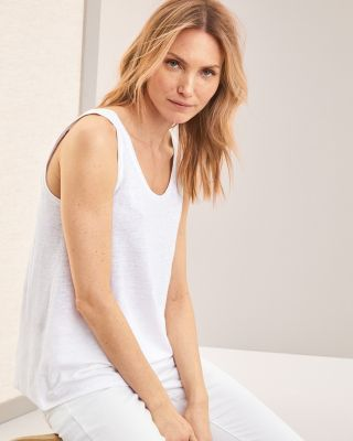Eileen Fisher Linen Jersey U-Neck Long Tank Top