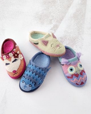 Girls' Boiled Wool Mules, Sizes 10-4