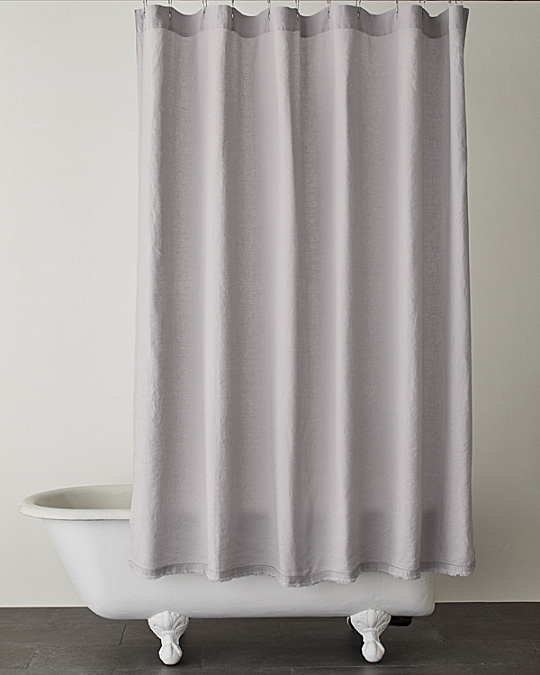 Eileen Fisher Washed Linen Shower Curtains Garnet Hill - Beige and blue shower curtain