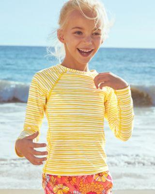 Garnet Hill Girls' UPF 50+ Long-Sleeve Swim Tee