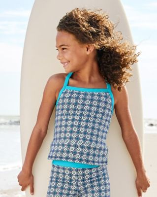 Wave Rider Cross-Back Tankini Top - Girls