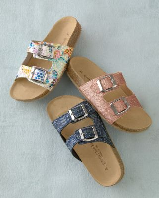 Girls' Double-Strap Cork-Bed Sandals, Sizes 09-3.5