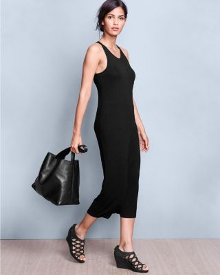 Eileen Fisher Viscose Jersey Scoop-Neck Long Dress Petite