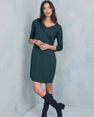 Eileen Fisher Viscose Jersey Three-Quarter-Sleeve V-Neck Dress