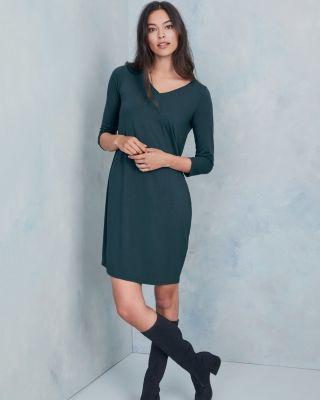 Eileen Fisher Viscose Jersey Three-Quarter-Sleeve V-Neck Dress -