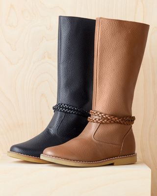 Elephantito Braid-Detail Tall Leather Boots, Sizes 09-4