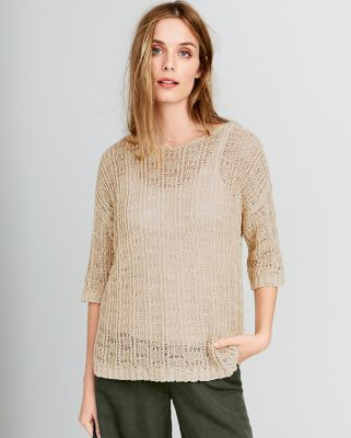 Eileen Fisher Organic Cotton Tape-Yarn Bateau-Neck Sweater