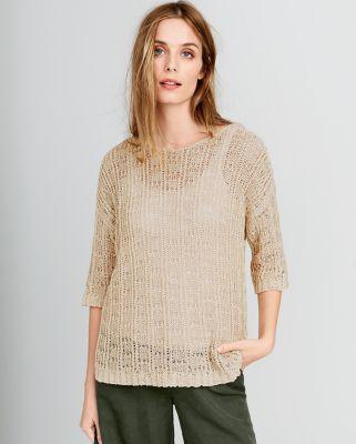 Eileen Fisher Organic Cotton Tape-Yarn Bateau-Neck Sweater