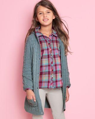 Pintuck-Detail Woven Flannel Shirt - Girls
