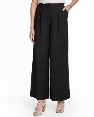 Pleated Wide Leg Wool Pants Garnet Hill