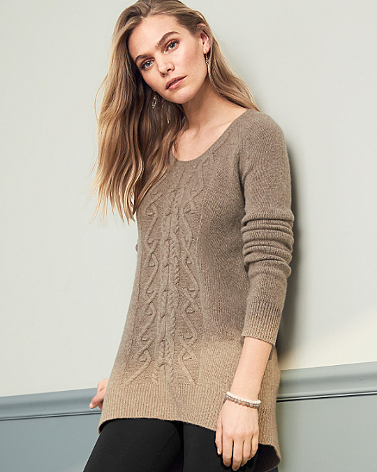 Cashmere Cabled High Low Sweater Garnet Hill