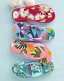 Rafters Girls' Surfer's Sparkle Flip-Flops, Sizes 09-5