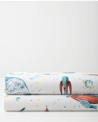 Glow-in-the-Dark Rockets Cotton Flannel Sheets