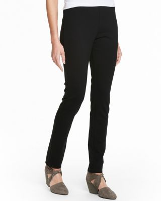 EILEEN FISHER Black Stretch-Ponte Slim Pants