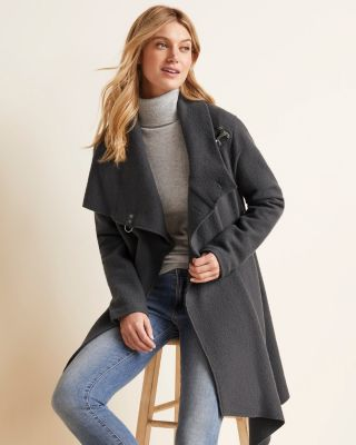 Asymmetrical Boiled Wool Coat