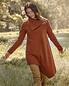 Asymmetrical Boiled Wool Coat - Regular