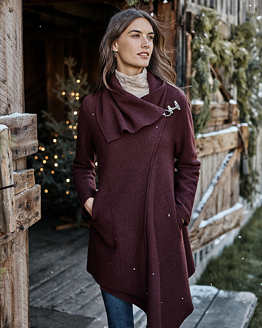 Asymmetrical Boiled Wool Coat | Garnet Hill