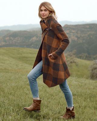 Garnet Hill Asymmetrical Boiled Wool Coat Petite