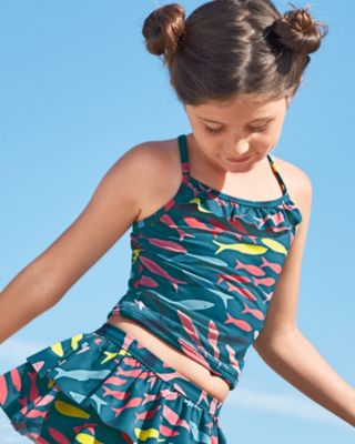 Garnet Hill Girls' Ruffle-Trimmed Tankini Top UPF 50+