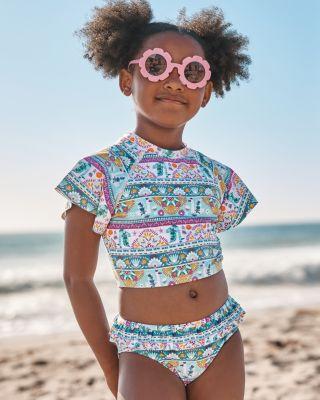 Garnet Hill Girls' Ruffle-Trimmed Bikini Bottom UPF 50+