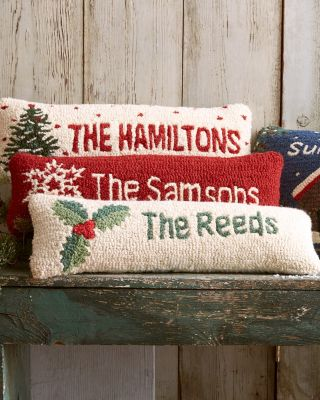 Personalized Hand-Hooked Holiday Pillows With Inserts