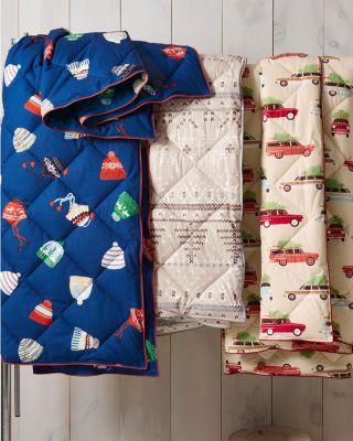 Garnet Hill Printed Poufy Throw Blanket