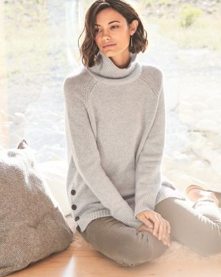 Side-Button Cashmere Turtleneck Sweater