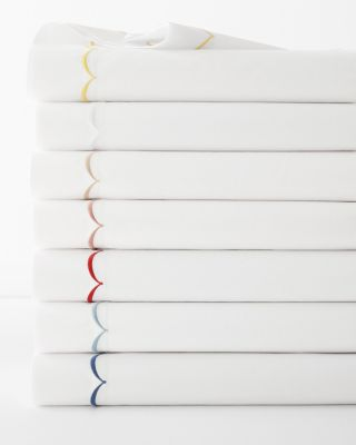 Scallop Embroidered Cotton Percale Sheets