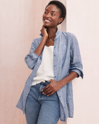 Garnet Hill Easy Linen Tunic Shirt