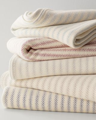 Handcrafted Cotton Ticking Stripe Blanket by Garnet Hill
