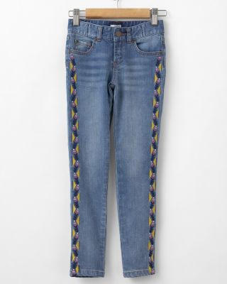 Garnet Hill Embroidered Skinny Jeans - Girls