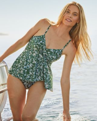 Retro Ruched-Overlay One-Piece Swimsuit By Garnet Hill