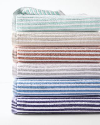 Ribbed Stripe Cotton Bath Towels