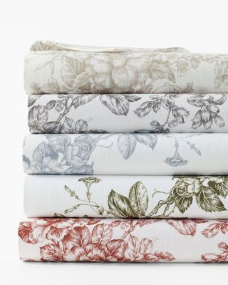 Toile Floral Cotton Flannel Sheets