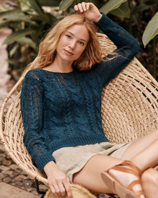 Easy Cabled Linen and Cotton Pullover Sweater