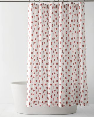 Mini-Print Cotton Shower Curtain