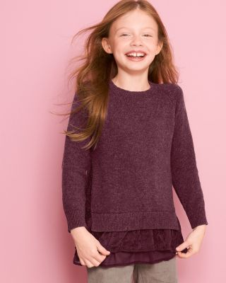 Garnet Hill Girls' Layered Shirttail Sweater