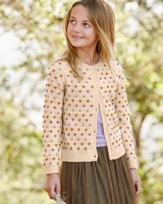 Garnet Hill Girls' Popcorn Cardigan Sweater