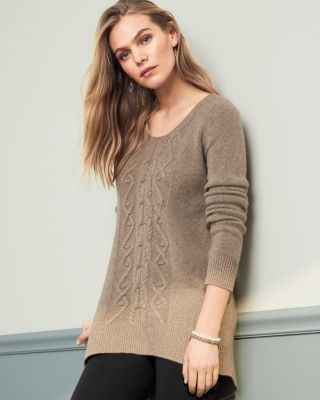 Cashmere Cabled High-Low Sweater