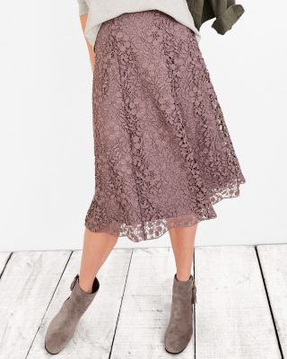 Midi Floral Lace Skirt