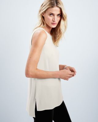 EILEEN FISHER Silk Georgette Crêpe Long Shell