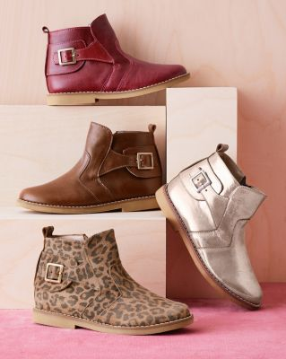 Kids' Elephantito Buckled Leather Ankle Boots